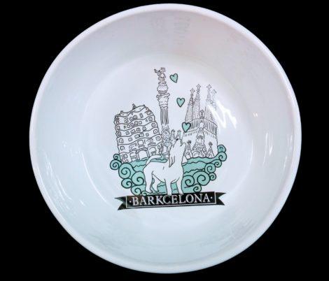 Comedero/bebedero Barkcelona de cerámica para gatos y perros pequeños, medianos y grandes