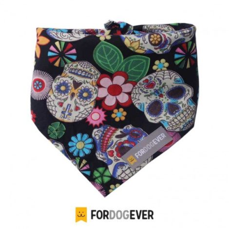 Pañuelo bandana para perros Black Calaveras de Fordogever
