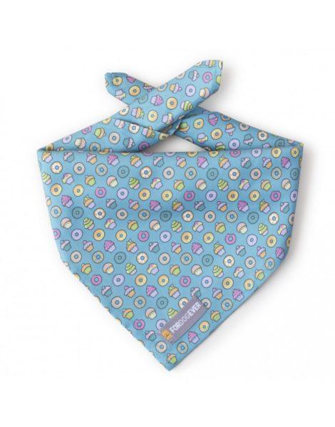 Pañuelo bandana para perro modelo Cupcakes azul