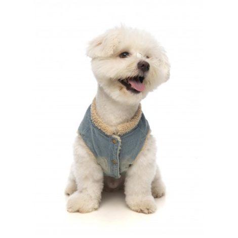 Cazadora denim con forro de borreguito para perros pequeños y medianos