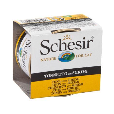Schesir lata de atún con surimi para gato